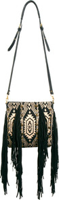 Fringed Ikat Leather Cross Body Bag - secondary colour: stone; predominant colour: black; occasions: casual, holiday; type of pattern: large; style: shoulder; length: across body/long; size: standard; material: fabric; embellishment: fringing; finish: plain; pattern: patterned/print