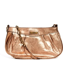 Chain Shoulder Bag - predominant colour: bronze; occasions: evening, occasion, holiday; type of pattern: standard; style: shoulder; length: across body/long; size: standard; material: faux leather; pattern: plain; trends: metallics; finish: metallic; embellishment: chain/metal