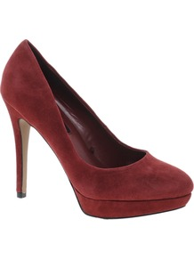 Suede Heeled Shoe - predominant colour: burgundy; occasions: evening, work, occasion; material: suede; heel height: high; heel: platform; toe: round toe; style: courts; finish: plain; pattern: plain