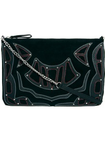 Black Appliqued Suede Cross Body Bag - predominant colour: black; occasions: casual, evening, holiday; type of pattern: light; style: shoulder; length: across body/long; size: small; material: suede; embellishment: embroidered; pattern: plain; finish: plain