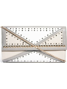 Stud Cutabout Clutch Bag - predominant colour: white; secondary colour: light grey; occasions: evening, occasion, holiday; type of pattern: light; style: clutch; length: hand carry; size: small; material: faux leather; embellishment: studs; pattern: plain; finish: plain