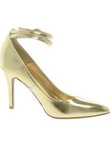 Pointed Heeled Shoe - predominant colour: gold; occasions: evening, occasion; material: faux leather; heel height: high; ankle detail: ankle strap; heel: stiletto; toe: pointed toe; style: courts; trends: metallics; finish: metallic; pattern: plain