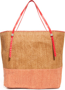 Touch Woven Straw Colourblock Shopper - secondary colour: pink; predominant colour: camel; occasions: casual, holiday; type of pattern: light; style: tote; length: shoulder (tucks under arm); size: oversized; material: macrame/raffia/straw; finish: plain; pattern: colourblock