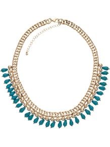 Nieve Necklace - predominant colour: turquoise; secondary colour: gold; occasions: casual, evening, occasion, holiday; style: choker/collar; length: short; size: standard; material: chain/metal; trends: metallics; finish: metallic; embellishment: beading