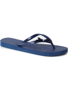 Navy Flipflop - predominant colour: navy; occasions: casual, holiday; material: plastic/rubber; heel height: flat; heel: standard; toe: toe thongs; style: flip flops / toe post; finish: plain; pattern: plain
