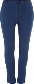 Midwash Blue Jeggings - length: standard; pattern: plain; style: leggings; waist: mid/regular rise; predominant colour: denim; secondary colour: denim; occasions: casual; fibres: cotton - stretch; texture group: denim; fit: skinny/tight leg; pattern type: fabric
