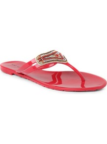 Aquarius Embellished Jelly Sandals - predominant colour: true red; secondary colour: mid grey; occasions: casual, evening, holiday; material: plastic/rubber; heel height: flat; embellishment: beading; heel: standard; toe: toe thongs; style: flip flops / toe post; finish: patent; pattern: plain
