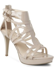 Bronnie Faux Leather Sandals - predominant colour: ivory; occasions: evening, occasion, holiday; material: leather; heel height: high; embellishment: buckles; ankle detail: ankle strap; heel: platform; toe: open toe/peeptoe; style: strappy; finish: patent; pattern: plain