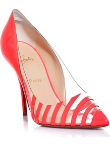 Pivich Patent Leather And Perspex 100mm Shoes - predominant colour: coral; occasions: evening, occasion; material: leather; heel height: high; heel: stiletto; toe: pointed toe; style: courts; finish: patent; pattern: striped