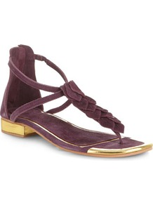 Collection Purple Leather Leaf Sandals - predominant colour: purple; secondary colour: gold; occasions: casual, holiday; material: suede; heel height: flat; ankle detail: ankle strap; heel: standard; toe: toe thongs; style: strappy; finish: plain; pattern: colourblock
