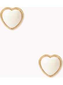Heart Studs - predominant colour: white; secondary colour: gold; occasions: casual, evening, occasion; style: stud; length: short; size: small; material: chain/metal; fastening: pierced; finish: plain
