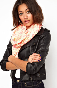 Peace Sign Snood - secondary colour: pink; predominant colour: blush; occasions: casual; type of pattern: standard; style: snood; size: large; material: fabric; pattern: patterned/print