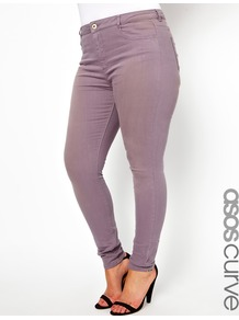Curve Supersoft Skinny Jean In Greyed Lilac - style: skinny leg; length: standard; pattern: plain; pocket detail: traditional 5 pocket; waist: mid/regular rise; predominant colour: lilac; occasions: casual, evening; fibres: cotton - stretch; texture group: denim; pattern type: fabric