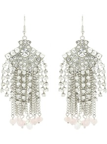 Vintage Tassel Drop Earrings - predominant colour: silver; occasions: evening, occasion; style: drop; length: long; size: large/oversized; material: chain/metal; fastening: pierced; finish: plain; embellishment: crystals