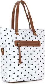 White Spotted Tarner Shopper Bag - predominant colour: white; secondary colour: black; occasions: casual, holiday; type of pattern: light; style: tote; length: shoulder (tucks under arm); size: standard; material: fabric; embellishment: tassels; pattern: polka dot; finish: plain