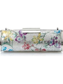 Silver Leather Berri Metallic Floral Print Clutch Bag - predominant colour: multicoloured; type of pattern: heavy; style: clutch; length: hand carry; size: standard; material: fabric; pattern: florals; trends: high impact florals; finish: plain