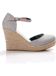 Closed Toe Espadrille, Silver - predominant colour: light grey; occasions: casual, evening, holiday; material: suede; heel height: high; ankle detail: ankle strap; heel: wedge; toe: round toe; style: courts; finish: plain; pattern: plain