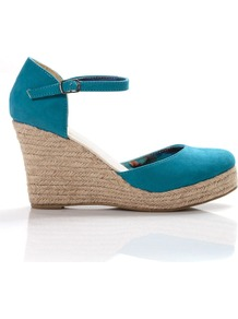 Closed Toe Espadrille, Green - predominant colour: turquoise; occasions: casual, evening, holiday; material: suede; heel height: high; ankle detail: ankle strap; heel: wedge; toe: round toe; style: courts; finish: plain; pattern: plain