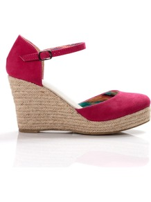 Closed Toe Espadrille, Pink - predominant colour: hot pink; occasions: casual, evening, holiday; material: faux leather; heel height: high; ankle detail: ankle strap; heel: wedge; toe: round toe; style: courts; finish: plain; pattern: plain
