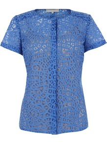Gwen Top, Sea Blue - pattern: plain; predominant colour: diva blue; occasions: casual, work; length: standard; style: top; fibres: cotton - mix; fit: body skimming; neckline: crew; sleeve length: short sleeve; sleeve style: standard; texture group: lace; pattern type: fabric; embellishment: lace