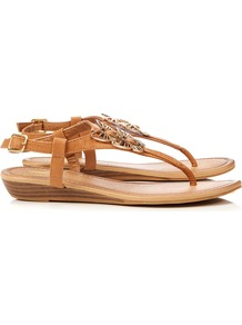 Brown Wedge Sandal - predominant colour: camel; secondary colour: gold; occasions: casual, evening, holiday; material: faux leather; heel height: mid; ankle detail: ankle strap; heel: wedge; toe: toe thongs; style: flip flops / toe post; finish: plain; pattern: plain; embellishment: chain/metal