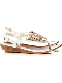 White Wedge Sandal - predominant colour: white; secondary colour: gold; occasions: casual, holiday; material: faux leather; heel height: mid; ankle detail: ankle strap; heel: wedge; toe: toe thongs; style: flip flops / toe post; finish: plain; pattern: plain; embellishment: chain/metal