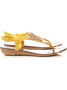 Yellow Wedge Sandal - predominant colour: primrose yellow; secondary colour: gold; occasions: casual, evening, holiday; material: faux leather; heel height: mid; ankle detail: ankle strap; heel: wedge; toe: toe thongs; style: flip flops / toe post; finish: plain; pattern: plain; embellishment: chain/metal