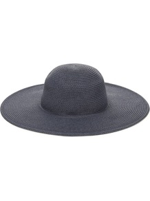 Floppy Beach Hat - predominant colour: navy; occasions: casual, holiday; type of pattern: standard; style: sunhat; size: large; material: fabric; pattern: plain