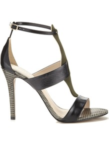 Panelled Sandal - predominant colour: khaki; secondary colour: black; occasions: evening, occasion; material: leather; heel height: high; ankle detail: ankle strap; heel: stiletto; toe: open toe/peeptoe; style: strappy; finish: plain; pattern: colourblock