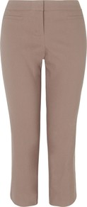Fearne Trousers, Neutrals - pattern: plain; waist: mid/regular rise; predominant colour: taupe; occasions: casual, work; length: calf length; fibres: cotton - mix; texture group: crepes; fit: slim leg; pattern type: fabric; style: standard