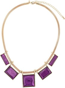 Purple Resin Squares On Mesh Chain Necklace - secondary colour: purple; predominant colour: gold; occasions: evening, work, occasion, holiday; style: choker/collar; length: short; size: large/oversized; material: chain/metal; trends: metallics; finish: metallic; embellishment: jewels