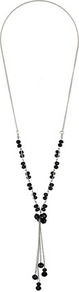 Black Glass Facet Bead Tassel Lariat Neckwear - secondary colour: silver; predominant colour: black; occasions: evening, work, holiday; style: tassel; length: long; size: small; material: chain/metal; finish: plain; embellishment: beading