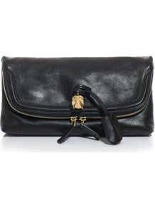 Skull Padlock Clutch - predominant colour: black; occasions: casual, evening, occasion; type of pattern: standard; style: clutch; length: hand carry; size: small; material: leather; embellishment: zips; pattern: plain; finish: plain