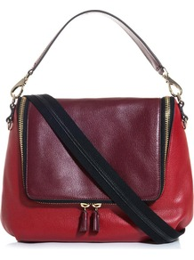 Maxi Zip Satchel - secondary colour: true red; predominant colour: burgundy; occasions: casual, work; type of pattern: standard; style: tote; length: handle; size: standard; material: leather; finish: plain; pattern: colourblock