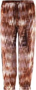 Ruben Ikat Print Trousers - waist: low rise; secondary colour: ivory; predominant colour: tan; occasions: casual, holiday; length: calf length; fibres: silk - 100%; texture group: silky - light; fit: straight leg; pattern type: fabric; pattern size: standard; pattern: patterned/print; style: standard