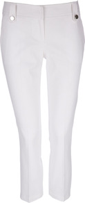 White Cropped Trousers - pattern: plain; waist: mid/regular rise; predominant colour: white; occasions: casual, evening, holiday; length: calf length; fibres: cotton - stretch; hip detail: added detail/embellishment at hip; fit: slim leg; pattern type: fabric; texture group: woven light midweight; style: standard
