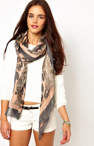 Animal Flag Re Colour Scarf - predominant colour: nude; secondary colour: charcoal; occasions: casual; type of pattern: standard; style: regular; size: standard; material: fabric; pattern: animal print