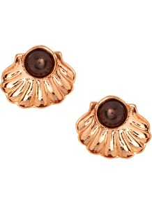 Pearl Clasp Stud Earrings - secondary colour: chocolate brown; predominant colour: gold; occasions: casual, evening, work, occasion, holiday; style: stud; length: short; size: small; material: chain/metal; fastening: pierced; finish: metallic; embellishment: pearls