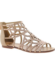 Diamante Ankle Strap Sandals - predominant colour: blush; occasions: casual, holiday; material: faux leather; heel height: flat; embellishment: crystals; ankle detail: ankle strap; heel: standard; toe: open toe/peeptoe; style: gladiators; finish: plain; pattern: plain