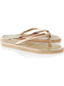 Metallic Woven Flip Flops Gold - predominant colour: gold; material: faux leather; heel height: flat; toe: toe thongs; style: flip flops / toe post; occasions: holiday; finish: metallic; pattern: plain