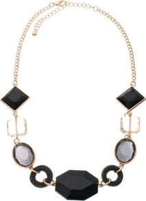 Cabo Necklace - secondary colour: gold; predominant colour: black; occasions: evening, occasion, holiday; style: standard; length: mid; size: standard; material: chain/metal; finish: metallic; embellishment: jewels