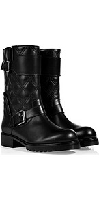 Quilted Leather Biker Boots In Black - predominant colour: black; occasions: casual; material: leather; heel height: mid; embellishment: quilted; heel: block; toe: round toe; boot length: mid calf; style: biker boot; finish: plain; pattern: plain