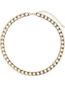 Chain Curb Collar - predominant colour: gold; occasions: casual, evening, work, occasion, holiday; style: standard; length: short; size: standard; material: chain/metal; trends: metallics; finish: metallic; embellishment: chain/metal