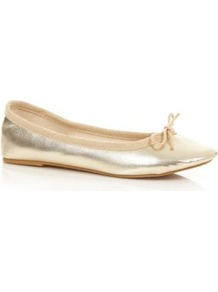 Gold Ballet Pumps - predominant colour: gold; occasions: casual, holiday; material: faux leather; heel height: flat; toe: round toe; style: ballerinas / pumps; trends: metallics; finish: metallic; pattern: plain