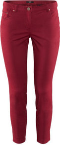 Ankle Length Trousers - pattern: plain; pocket detail: traditional 5 pocket; waist: mid/regular rise; predominant colour: burgundy; occasions: casual, evening, holiday; length: ankle length; fibres: cotton - stretch; texture group: cotton feel fabrics; fit: skinny/tight leg; pattern type: fabric; style: standard