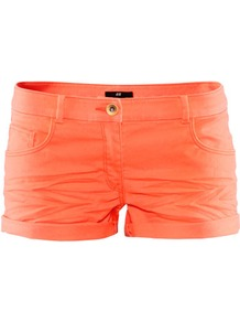 Short Twill Shorts - pattern: plain; style: shorts; pocket detail: traditional 5 pocket; length: short shorts; waist: mid/regular rise; predominant colour: bright orange; occasions: casual; fibres: cotton - stretch; jeans & bottoms detail: turn ups; texture group: denim; fit: slim leg; pattern type: fabric