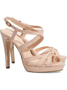 Sandals - predominant colour: nude; occasions: evening, work, occasion, holiday; material: fabric; heel height: high; heel: platform; toe: open toe/peeptoe; style: strappy; finish: plain; pattern: plain