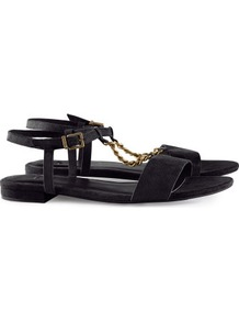 Sandals - secondary colour: gold; predominant colour: black; occasions: casual, evening, work, holiday; material: faux leather; heel height: flat; ankle detail: ankle strap; heel: standard; toe: open toe/peeptoe; style: standard; finish: plain; pattern: plain; embellishment: chain/metal