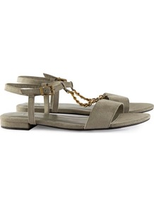 Sandals - predominant colour: khaki; secondary colour: gold; occasions: casual, evening, work, holiday; material: faux leather; heel height: flat; ankle detail: ankle strap; heel: standard; toe: open toe/peeptoe; style: standard; finish: plain; pattern: plain; embellishment: chain/metal