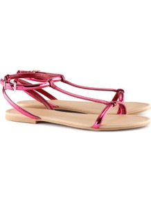 Sandals - predominant colour: hot pink; occasions: evening, work, holiday; material: faux leather; heel height: flat; ankle detail: ankle strap; heel: standard; toe: open toe/peeptoe; style: standard; trends: fluorescent; finish: metallic; pattern: plain